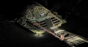 Handout file photo shows tunnel underneath the Quetzalcoatl temple in the ancient city of Teotihuacan