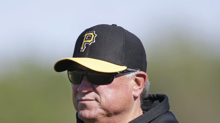 Pittsburgh Pirates manager Clint Hurdle looks on during a baseball spring training workout on Sunday, Feb. 17, 2013, in Bradenton, Fla. (AP Photo/Charlie Neibergall)