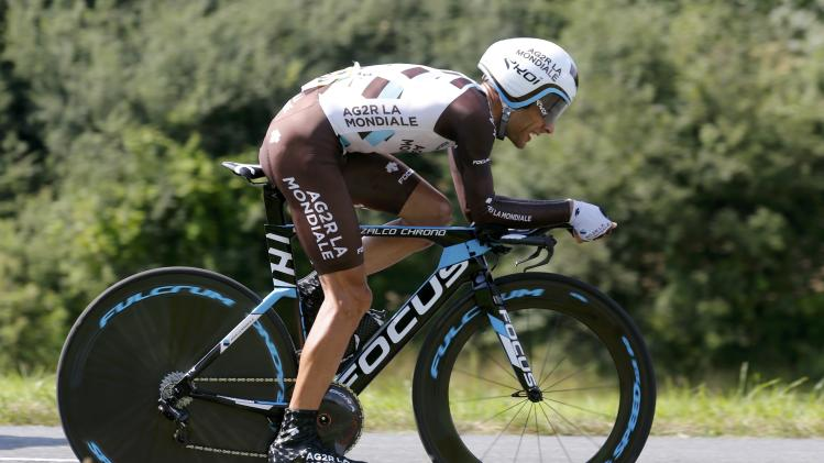 AG2R-La Mondiale team rider Jean-Christophe Peraud of France cycles during the 54-km individual time trial 20th stage of the Tour de France cycling race