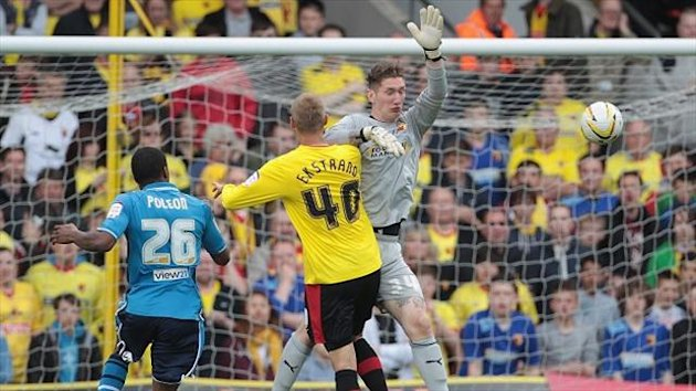 Jack Bonham, right, endured a turbulent time for Watford against Leeds