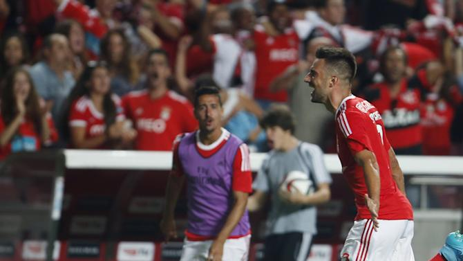 Benfica's Samaris celebrates his goal against Moreirense during their Portuguese premier league soccer match at Luz stadium in Lisbon