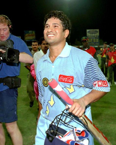 India's Sachin Tendulkar enjoys a moment of glory