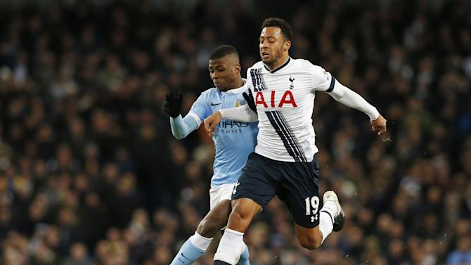 Manchester City's Kelechi Iheanacho in action Tottenham's Mousa Dembele