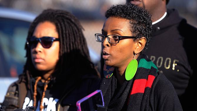 Miski Noor of Minneapolis and a Black Lives Matter organizer, speaks during a news conference march to city hall during a protest in Minneapolis, Minnesota