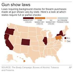 Map shows states with mandatory or partial background checks at gun shows
