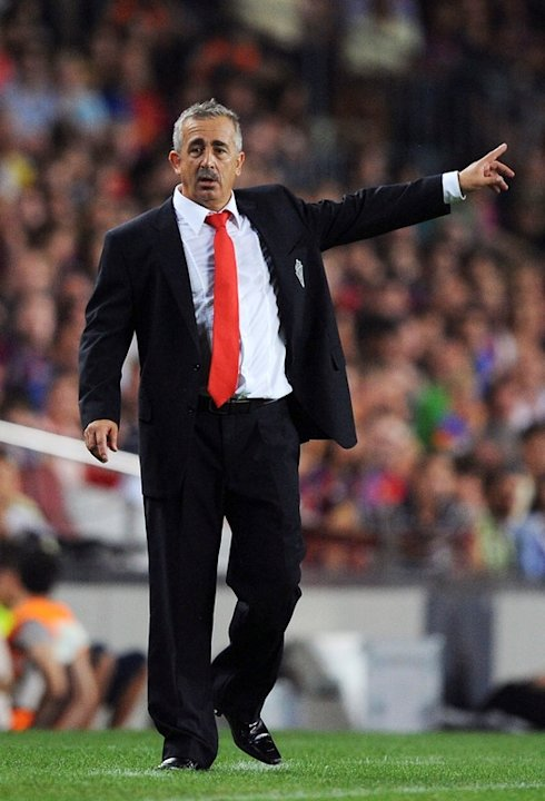 )  Sporting Gijon Manager Manuel Preciado Signals Getty Images