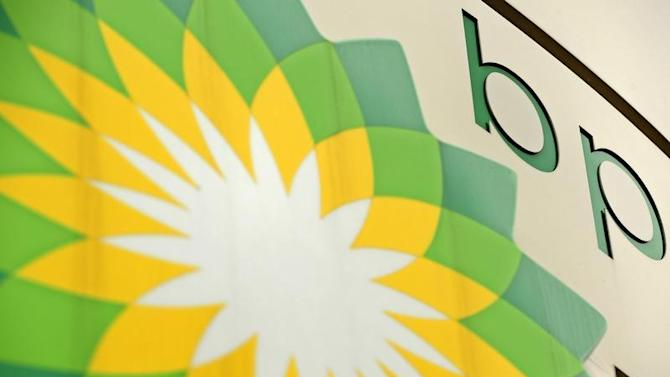 A British Petroleum sign is seen at a petrol station in south London