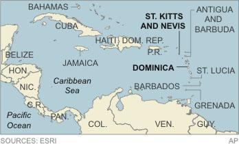 Map locates St. Kitts and Nevis and Dominica