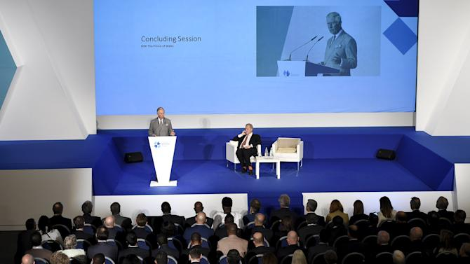 Britain's Prince Charles delivers a speech during a Business Forum at the Commonwealth Heads of Government Meeting (CHOGM) in Valletta