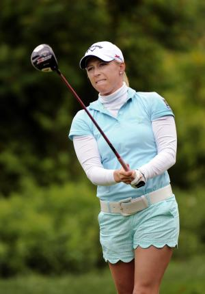 Morgan Pressel, watches her tee shot on the ninth hole during the second round of the LPGA Championship golf tournament at Locust Hill Country Club in Pittsford, N.Y. on Saturday, June 8, 2013. (AP Photo/Gary Wiepert)