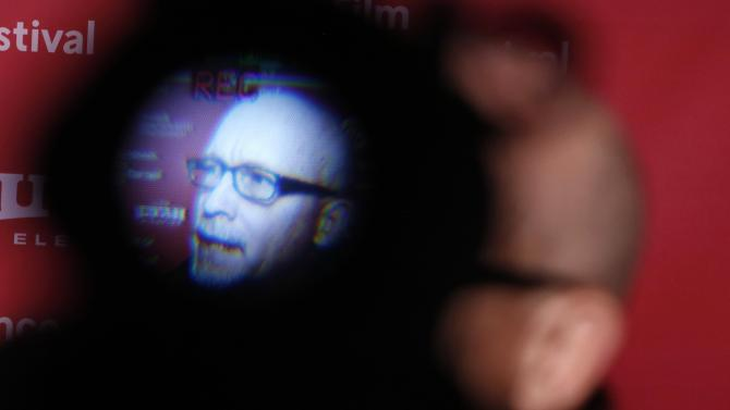 "Director Gibney is seen through a viewfinder as he attends the premiere of ""Going Clear: Scientology and the Prison of Belief"" at the Sundance Film Festival in Park City"