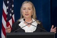 US Secretary of State Hillary Clinton speaks at a press conference following meetings as part of AUSMIN at the State Reception Centre in Kings Park in Perth, on November 14. In what could be her final visit Down Under in her current job, Clinton joined US Defense Secretary Panetta for talks with Australian counterparts Bob Carr and Stephen Smith
