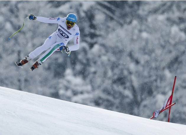 Innerhofer of Italy jumps during the men's Downhill event of the Alpine Skiing World Cup downhill ski race in Garmisch-Partenkirchen