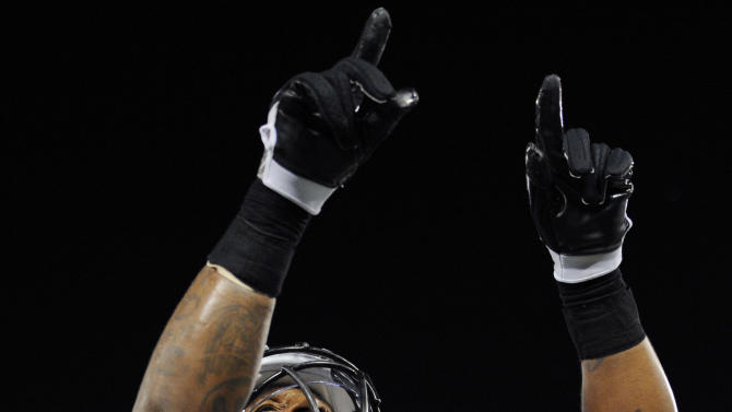 Baltimore Ravens running back Anthony Allen celebrates his touchdown during the second half of an NFL preseason football game against Kansas City Chiefs in Baltimore, on Friday, Aug. 19, 2011. The Ravens defeated the Chiefs 31-13. (AP Photo/Nick Wass)