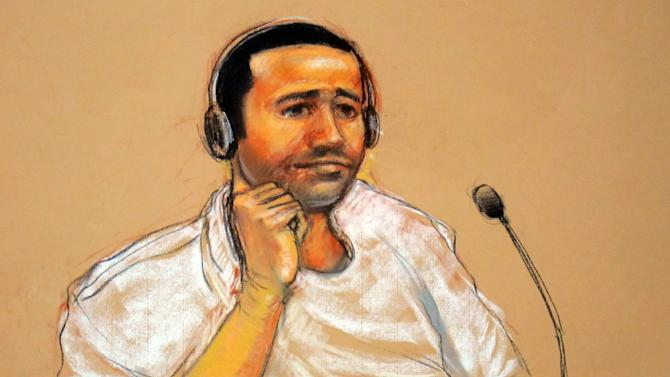 FILE - This Nov. 9, 2011, file artist rendering by courtroom artist Janet Hamlin, reviewed by the U.S. military, shows Abd al Rahim al-Nashiri during his military commissions arraignment at the Guantanamo Bay detention center in Guantanamo, Cuba. Nashiri, accused of orchestrating the 2000 bombing of the USS Cole, is pressing his demand for documents detailing his treatment while he was held for several years in secret CIA prisons. His lawyers are asking a U.S. military judge Monday, Aug. 4, 2014, to set a deadline for prosecutors to turn over the documents. (AP Photo/Janet Hamlin, File)