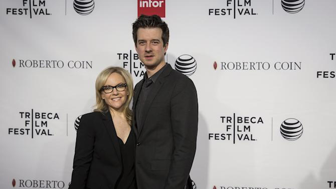 "Actress Rachael Harris and musician Christian Hebel arrive at a screening of the film ""Goodfellas"" during the Tribeca Film Festival in New York City"