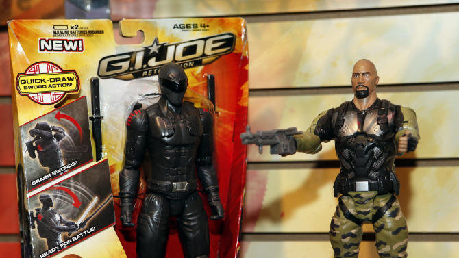 """""""G.I. Joe 10-inch Commandos"""" are displayed in Hasbro's showroom at the American International Toy Fair, Friday, Feb. 8, 2013, in New York. (Photo by Jason DeCrow/Invision for Hasbro/AP Images)"""
