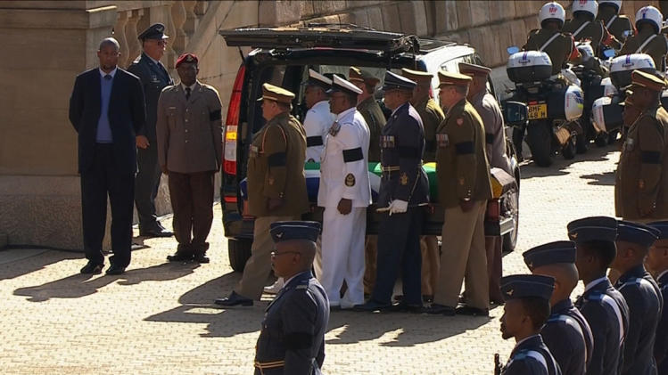 Still image from SABC video shows the coffin of former South African President Nelson Mandela being carried at Union Buildings in Pretoria