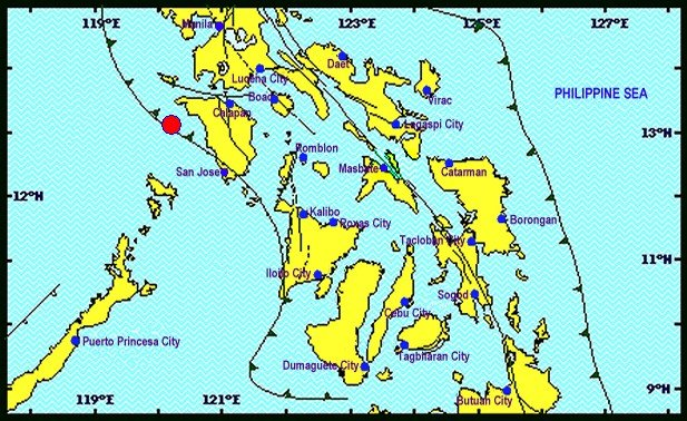 A 5.3-magnitude earthquake has hit Mindoro Occidental, with shocks reaching as far as Manila and Tagaytay on Thursday morning. (Photo from Philvocs)