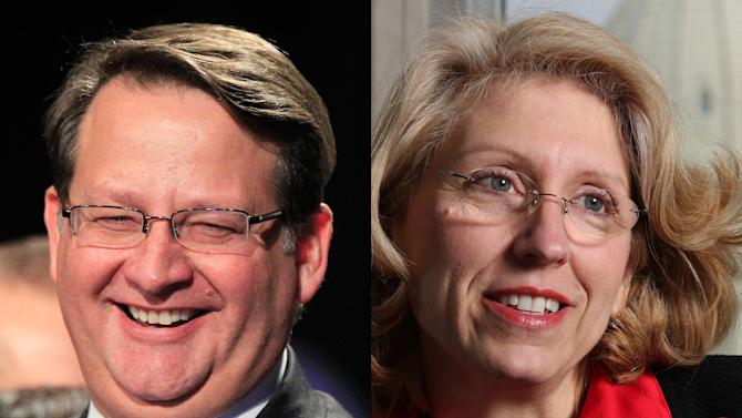 This combination of undated file photos shows Michigan Democratic Rep. Gary Peters, left, and former two-term GOP Michigan Secretary of State Terri Lynn Land, two of several possible candidates who may be considering a bid to fill the seat of Michigan U.S. Sen. Carl Levin, who has announced he will not to seek another term. (AP Photo/File)