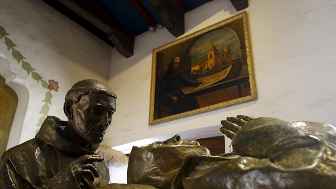 A cenotaph paying tribute to Father Junipero Serra is seen at the Carmel Mission in Carmel