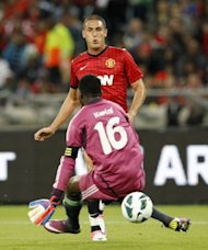 Manchester United's Federico Macheda scores past Amazulu's goalkeeper Tapuwa Kapini during their MTN Football Invitational match at the Moses-Mabhida Stadium in Durban. Manchester United won 1-0