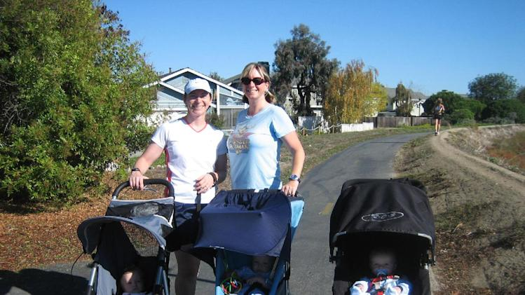 In this October 2006 photo provided by courtesy of Stroller Hikes, mothers with their babies pose for a photo during a Stroller Hike along the Bay Trail through Foster City, Calif. The non-profit organization, Stroller Hikes, arranges numerous hikes each week for parents in the San Francisco Bay area. (AP Photo/Courtesy Stroller Hikes, Debbie Frazier)