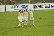 The Azkals celebrate after their win over Myanmar. (Photo by Bob Guerrero)