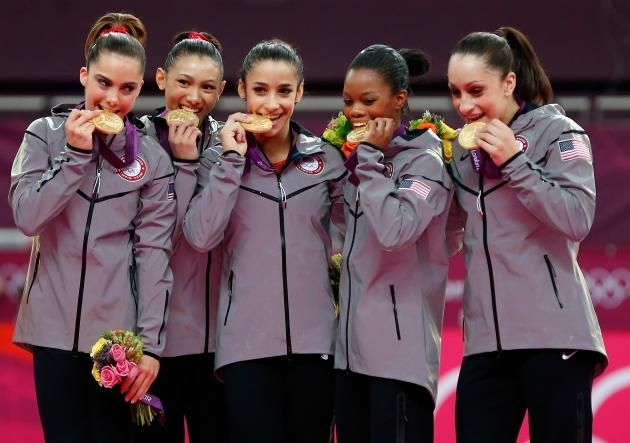 McKayla Maroney, Kyla Ross, Aly Raisman, Gabrielle Douglas and Jordyn Wieber of Team USA celebrate after winning the gold medal in the Artistic Gymnastics Women's Team final at the London 2012 Olympic Games on July 31, 2012 -- Getty Images