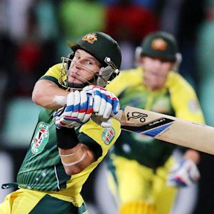 Hodge sixes take Australia home in rain-affected T20 match