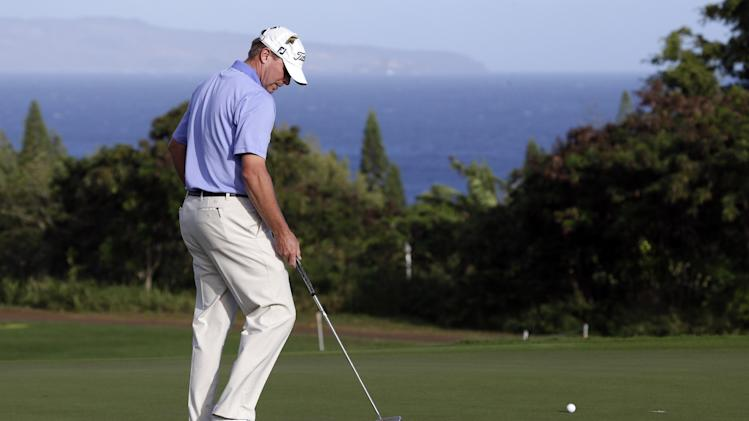 Steve Stricker reacts after missing a putt on the third hole during the third and final round of the Tournament of Champions golf tournament, Tuesday, Jan. 8, 2013, in Kapalua, Hawaii.  (AP Photo/Elaine Thompson)