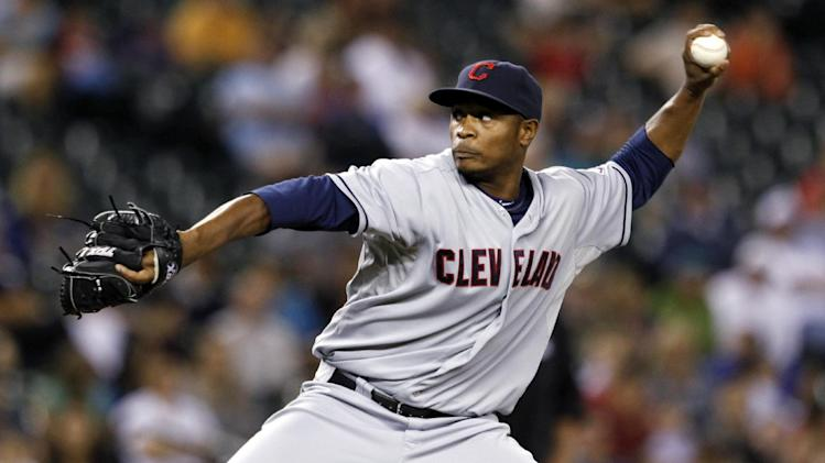 FILE - In this Aug. 20, 2012, file photo, Cleveland Indians relief pitcher Tony Sipp throws against the Seattle Mariners in a baseball game in Seattle. The Indians sent Sipp to the Arizona Diamondbacks, Tuesday, Dec. 11, in a three-team, nine-player trade. (AP Photo/Elaine Thompson, File)