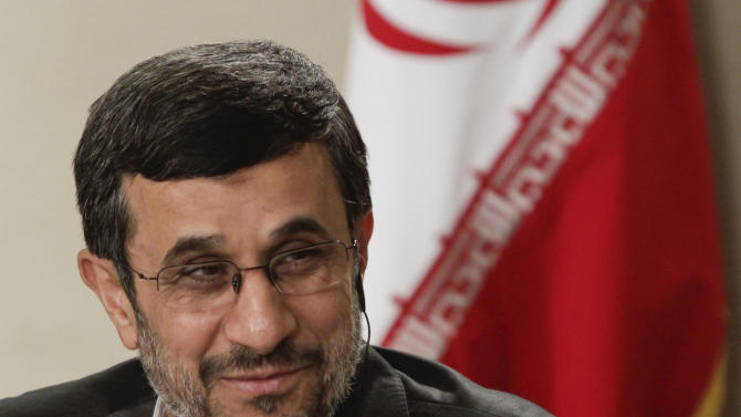 Iranian President Mahmoud Ahmadinejad speaks during an exclusive interview with Associated Press editorial staff during his visit to the 67th session of the United Nations General Assembly on Tuesday, Sept. 25, 2012 in New York.  (AP Photo/Bebeto Matthews)