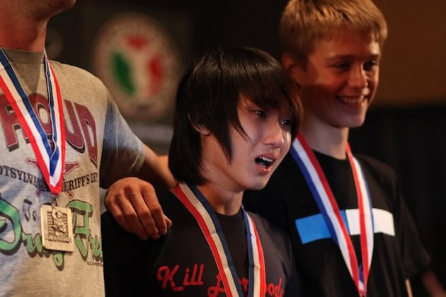 Marcus Koh (middle) cried when he won first at the 2011 World Yo-yo Contest. (Photo from YoYoFactory)