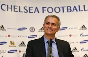 Newly reappointed Chelsea manager Mourinho reacts during a news conference at Stamford Bridge stadium in London