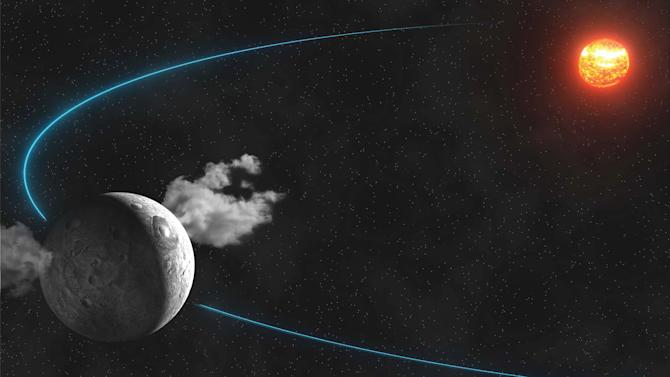 This artist rendering released by IMCCE (Institut de Mecanique Celeste et de Calcul des Ephemerides) shows water plumes spewing from the surface of the dwarf planet Ceres. Scientists led by the European Space Agency observed the plumes and reported their findings in the Jan. 23, 2014 issue of the journal Nature. (AP Photo/ IMCCE, Paris Observatory, CNRS)