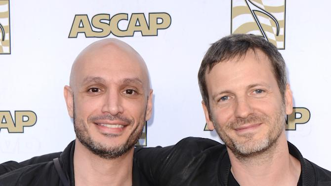 "Hip Hop producer Noah ""40""  Shebib and songwriter/music producer Dr. Luke arrive at the 30th Annual ASCAP Pop Music Awards, on Wednesday, April 16, 2013, at Loews Hollywood Hotel in Hollywood, California. (Photo by Tonya Wise/Invision for ASCAP/AP Images)"