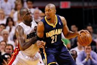 David West of the Indiana Pacers posts up Joel Anthony of the Miami Heat during Game Five of the Eastern Conference Semifinals in the 2012 NBA Playoffs at AmericanAirlines Arena May 22, in Miami, Florida. Miami scored the opening three points and never trailed in easily beating Indiana 115-83 to take a 3-2 lead