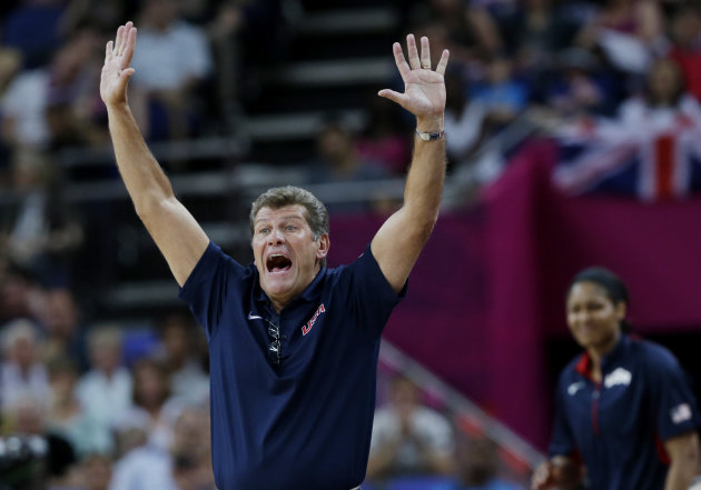USA coach Geno Auriemma signals to players during a semifinal women's basketball game against Australia at the 2012 Summer Olympics, Thursday, Aug. 9, 2012, in London. (AP Photo/Eric Gay)
