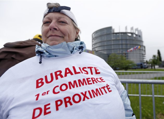 A French tobacconist demonstrates in front of the European Parliament in Strasbourg