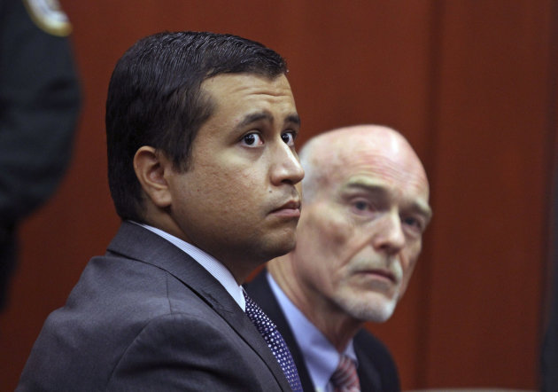 FILE - In this June 29, 2012 file photo, George Zimmerman, left, and attorney Don West appear before Circuit Judge Kenneth R. Lester, Jr. Friday, June 29, 2012, during a bond hearing at the Seminole County Criminal Justice Center in Sanford, Fla. Zimmerman will try to have the murder charge dismissed under Florida's &quot;stand your ground&quot; self-defense law, his attorney said Thursday, Aug. 9, 2012. Zimmerman is charged with second-degree murder in the shooting of Trayvon Martin.(AP Photo/Orlando Sentinel, Joe Burbank, Pool)