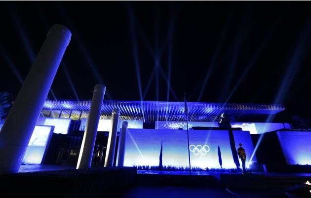 The Olympic Museum is illuminated on the evening of its inauguration in Lausanne