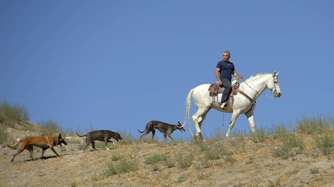 """In this Oct. 18, 2012 photo, Cesar Millan rides his horse Conquistador as he walks with his dogs at his Dog Psychology Center, in Santa Clarita, Calif. Millan has a new television show, book, tour and documentary. """"Cesar Millan: The Real Story"""" airs on Nat Geo Wild on Nov. 25, 2012. It will also launch a global speaking tour. (AP Photo/Mark J. Terrill)"""