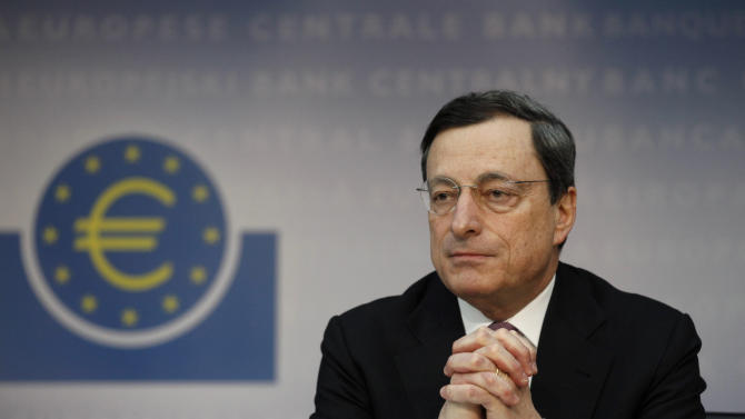 """President of the European Central Bank Mario Draghi attends a news conference, Thursday, March 8, 2012. The European Central Bank left its key interest rate unchanged Thursday at a record low of 1 percent, holding off on further measures to boost the shaky economy in the 17 countries that use the euro. Draghi said the eurozone economy is showing """"signs of stabilization"""" and dropped the word """"tentative"""" from last month's assessment of the steadying economy, making his outlook slightly less pessimistic. (AP Photo/dapd, Mario Vedder)"""