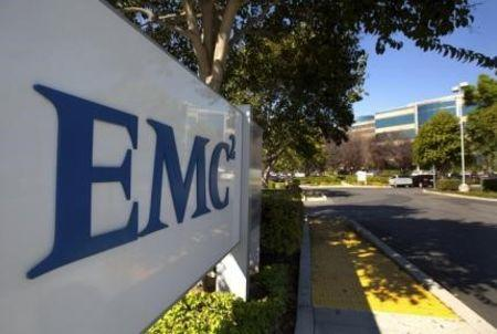 The EMC logo is seen at the entrance to the company's office in Santa Clara