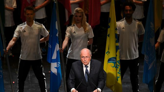 FIFA President Sepp Blatter delivers a speech during the opening ceremony of the 65th FIFA Congress in Zurich on May 28, 2015