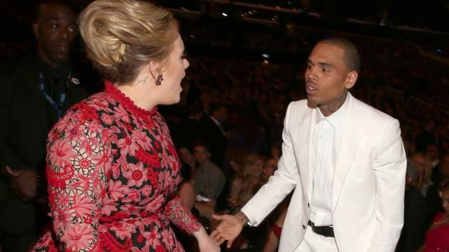 Adele and singer Chris Brown attend the 55th Annual Grammy Awards at Staples Center on February 10, 2013 in Los Angeles -- Getty Images
