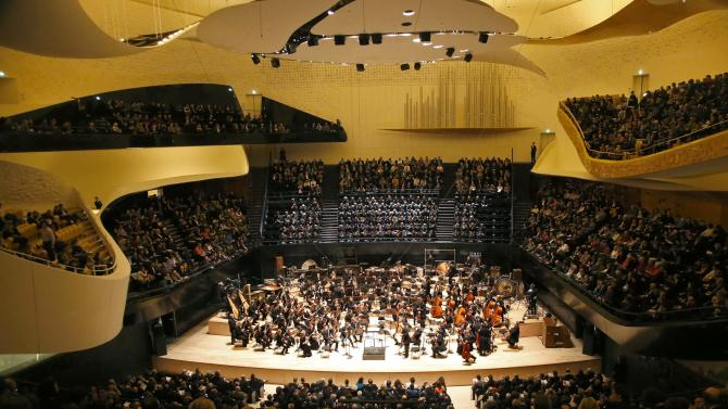 File photo shows a general view of the interior of the new Paris Philharmonic Hall by French architect Nouvel during its inauguration
