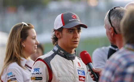 Sauber Formula One driver Gutierrez of Mexico talks to the media after the Japanese F1 Grand Prix at the Suzuka circuit