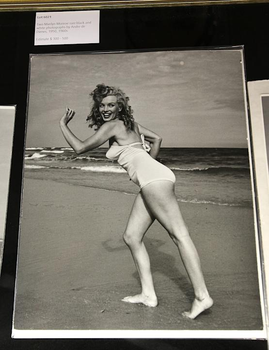 An early shot of Marilyn on the beach